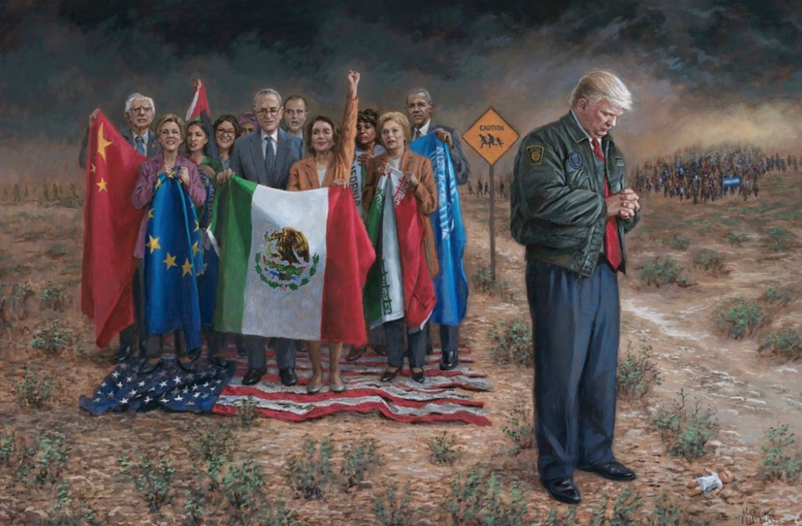 Jon McNaughton paints Trump threatened by a crowd of Democrats carrying Mexican, European, and Soviet flags, while they stand on the US flag.